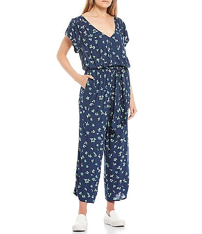 O'Neill Deep V-Neck Short Sleeve Nickie Floral Print Ankle Jumpsuit