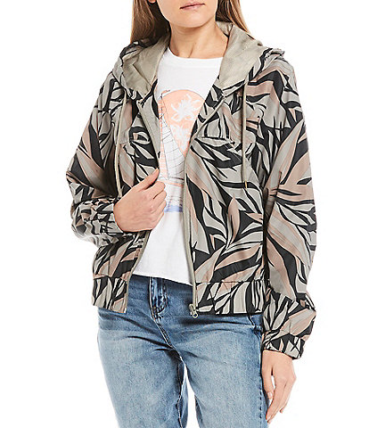 O'Neill Lunan Windbreaker Leaf Print Jacket