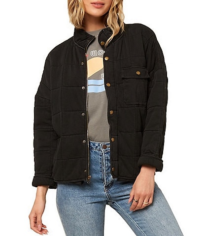 O'Neill Mable Quilted Knit Snap Button Front Jacket