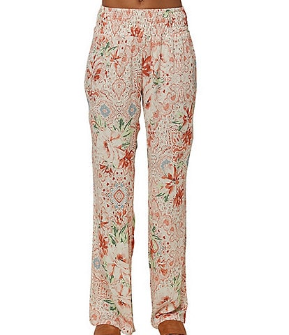 O'Neill Mid-Rise Smocked-Waist Johnny Floral Print Pants
