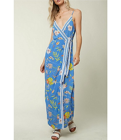 O'Neill Palmie Stripe/Tropical Floral Wrap Maxi Dress