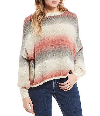 O'Neill Sand Dune Space-Dyed Stripe Balloon Sleeve Pullover Sweater
