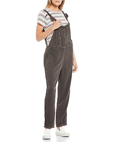 O'Neill Sleeveless Nightfall Woven Tank Raw Hem Overalls