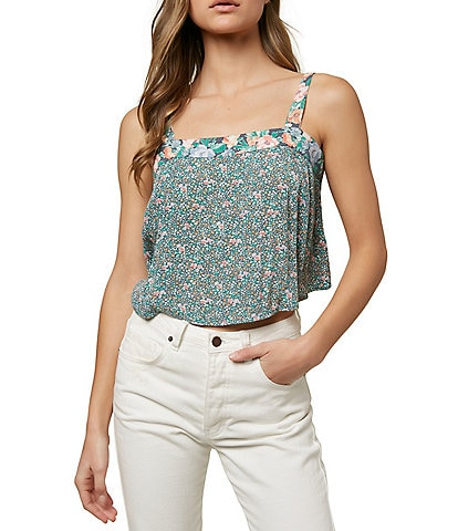 O'Neill Sleeveless Violet Floral-Printed Tank Top