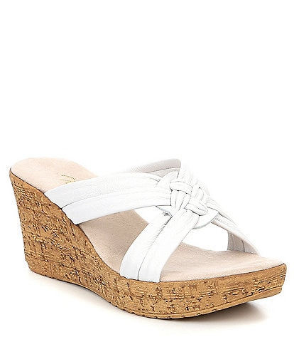 Onex Bethany Leather Wedge Slide Sandals