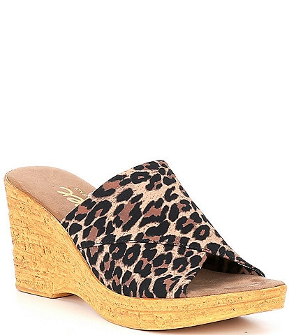 Onex Christina Elastic Leopard Wedge Sandals