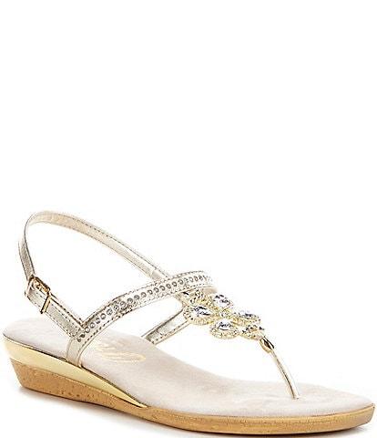 Onex Taylor Leather Embellished Thong Sandals