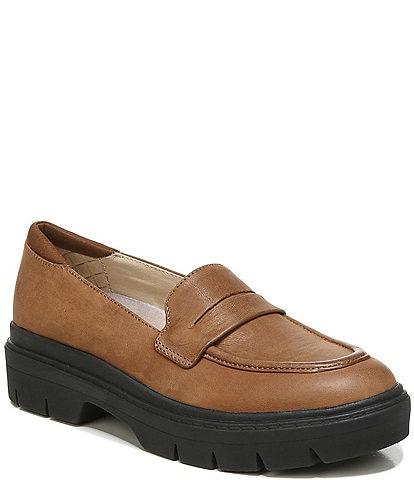 Original Collection by Dr. Scholl's Classy Leather Water Resistant Platform Loafers