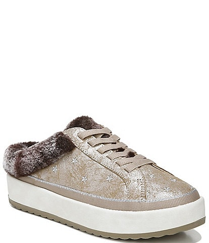 Original Collection by Dr. Scholl's Mellow Water Resistant Metallic Leather Faux Shearling Lined Star Sneaker Mules