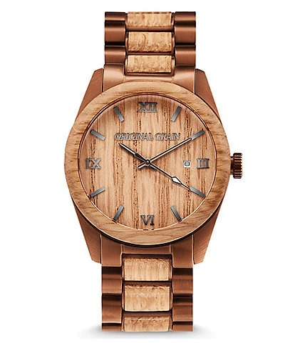 Original Grain Classic 43mm Whiskey Barrel Wood Espresso Watch