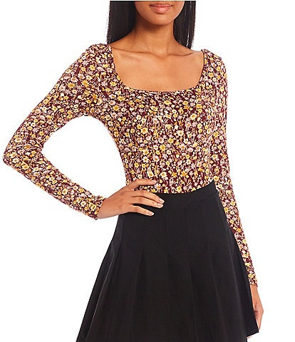 Originality All Over Floral Print Long Sleeve Bodysuit