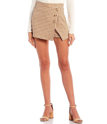 Originality Blue Plaid Triple Button Skort