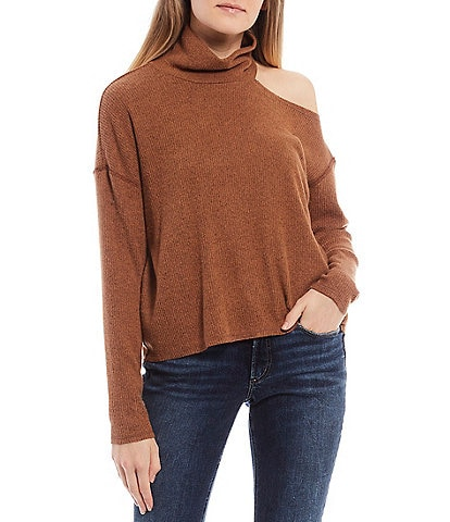 Originality Cold Shoulder Turtleneck Hacci Turtleneck Top
