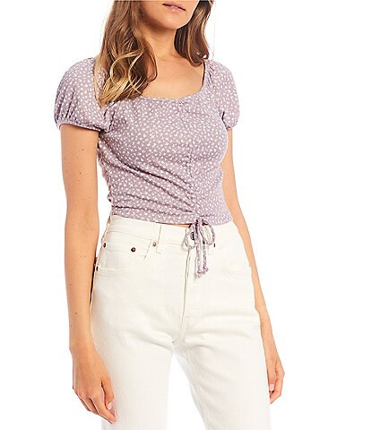 Originality Daisy Cap-Sleeve Cinched Front Top