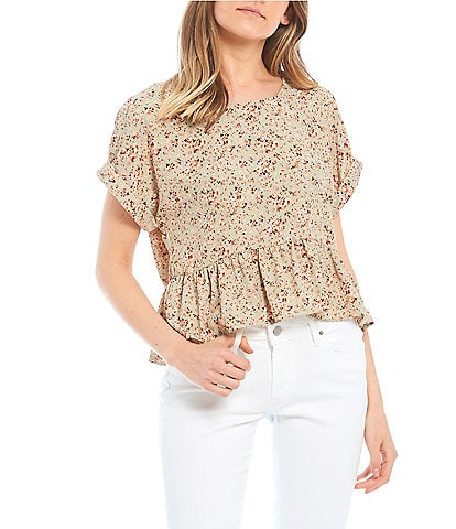 Originality Ditsy Floral Rolled Cuff Sleeve Woven Peplum Top