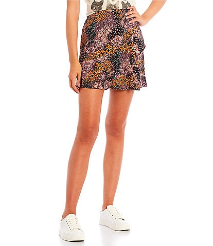 Originality Floral Print Ruffle Mini Skirt