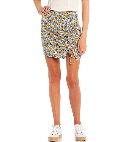 Originality Floral Print Side Cinch Skirt
