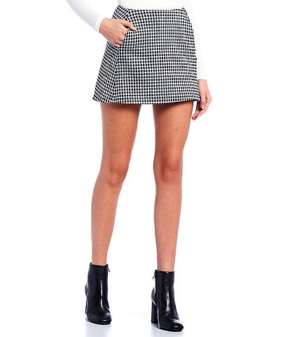 Originality Houndstooth Plaid Knit Mini Skirt