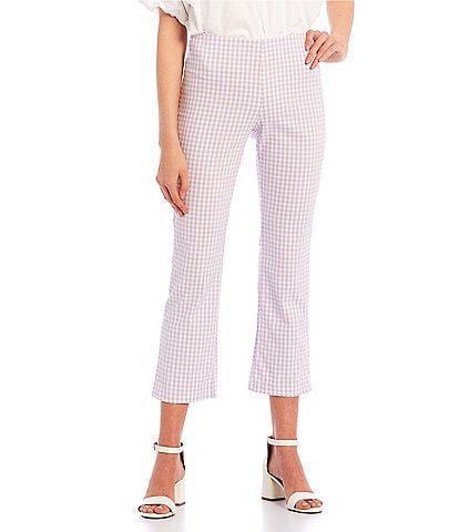 Originality Mid Rise Plaid Kick Flare Cropped Pants