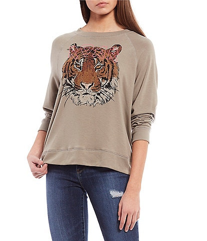Originality Roar Tiger Long-Sleeve Graphic Sweatshirt