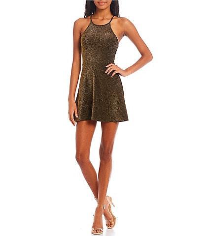 Originality Shimmer High Neck Skater Dress