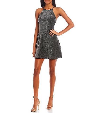 Originality Sleeveless High Scoop Neck Glitter Knit Skater Dress
