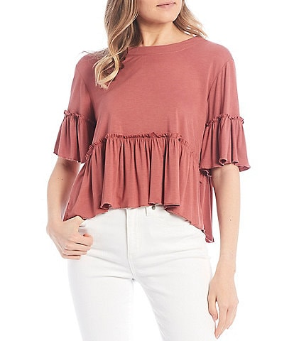 Originality Short Sleeve Boho Peplum Top