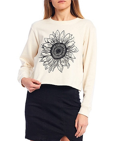 Originality Sunflower Graphic Crop Sweatshirt