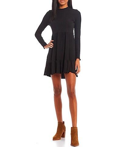 Originality Tiered Mock Neck Long Sleeve Ribbed Dress