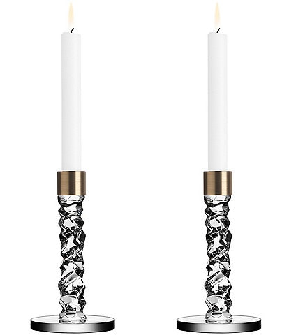 Orrefors Carat Brass Candlestick, Set of 2