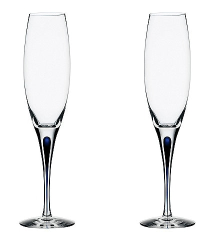 Orrefors Intermezzo Blue Champagne Flutes Love and Happiness Blue, Set of 2