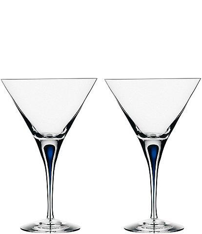 Orrefors Intermezzo Blue Drop Martini Glass, Pair
