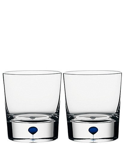 Orrefors Intermezzo Blue Old Fashioned Whiskey Glass, Pair