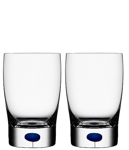 Orrefors Intermezzo Blue Drop Small Tumbler Juice Glass, Pair