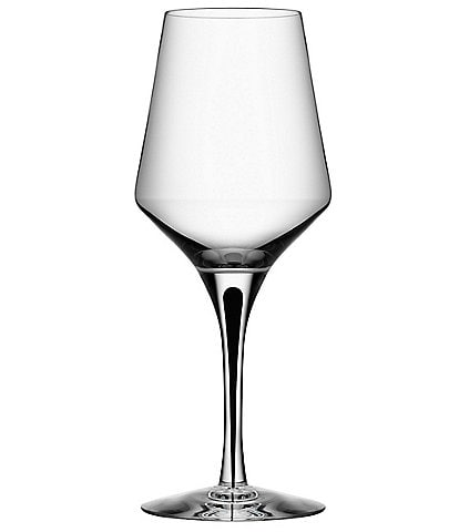 Orrefors Metropol Black Crystal White Wine Glass, Set of 2