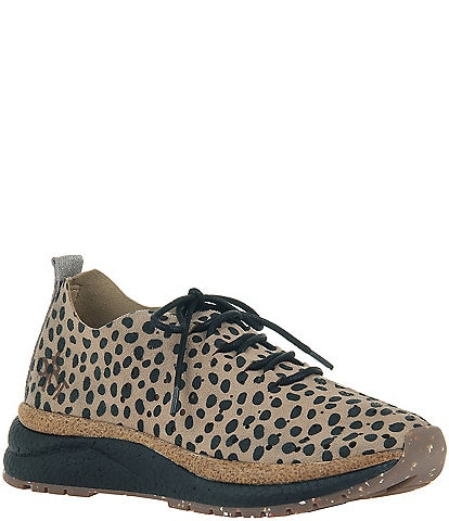 OTBT Alstead Cheetah Print Suede Lace-Up Wedge Sneakers
