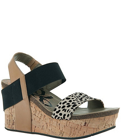 OTBT Bushnell Leather Leopard Print Platform Cork Wedge Sandals