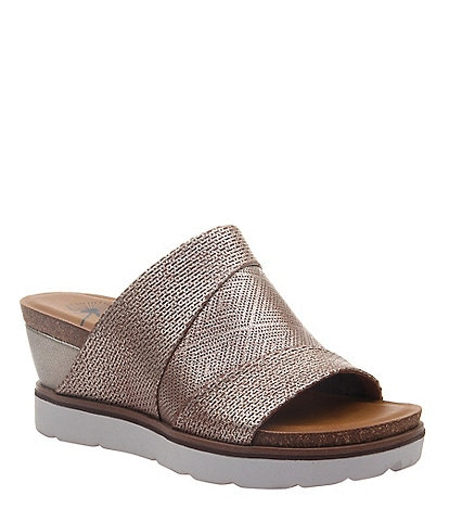 OTBT Earthshine Perforated Leather Band Wedge Sandals