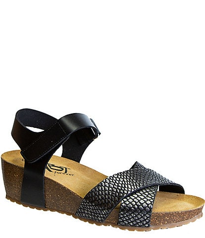 OTBT Forever Harriett Cork Wedge Snake Print Sandals