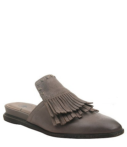 OTBT Gleam Leather Fringe Mules