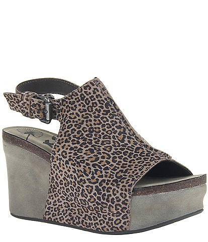 OTBT Jaunt Leopard Print Leather Platform Wedges