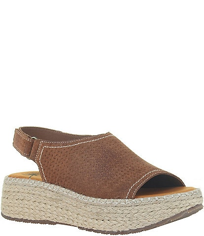 OTBT Marina Perforated Suede Leather Platform Espadrilles