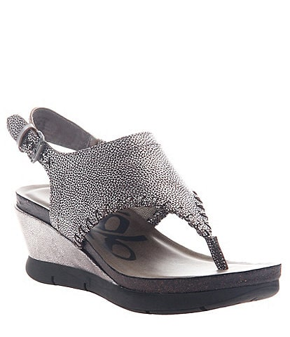 OTBT Meditate Metallic Leather Thong Wedges