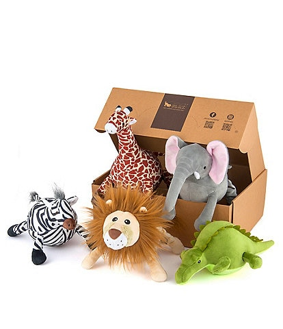 P.L.A.Y. Pet Lifestyle And You Safari Toy Set, 5-Piece Plush Dog Toys