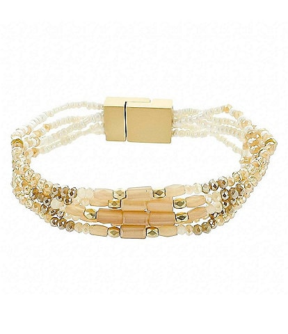 Panacea Beaded Peach Topaz Magnetic Stretch Bracelet