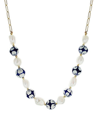 Panacea Blue Millefiori and Freshwater Pearl Necklace