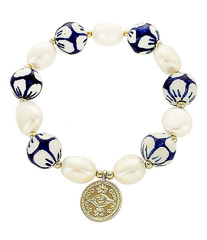 Panacea Blue Millefiori and Freshwater Pearl Stretch Bracelet