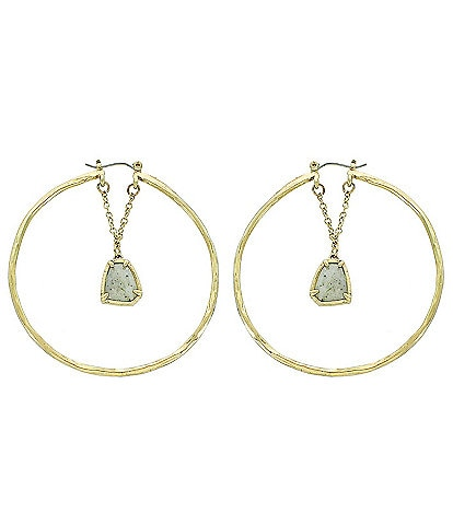 Panacea Gold and Labradorite Stone Hoop Earrings
