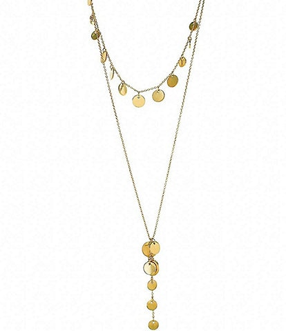 Panacea Gold Layered Coin Y Necklace