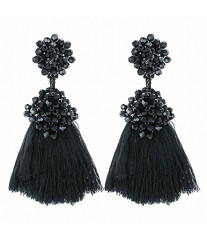 Panacea Jet Crystal Black Tassel Statement Earrings